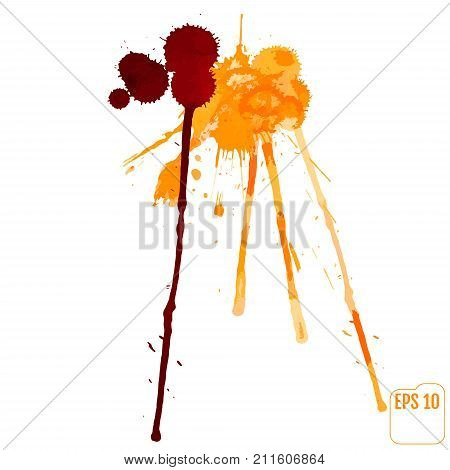 Paint Splat With Blood Drop For Design Use. Abstract Vector Illu