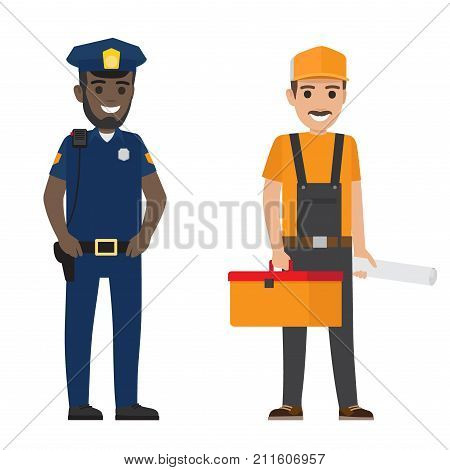 poster of Policeman and builder vector illustration. Police officer with black walkie-talkie on shoulder. Erector with suitcase and project.