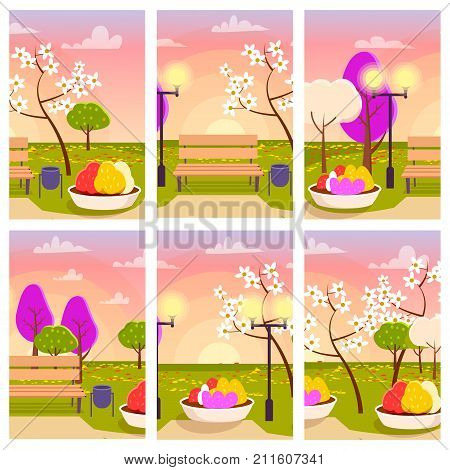 Empty spring park with blooming trees, flower beds, wooden bench and bright streetlight at sunset with pink sky vector illustration.
