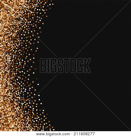 Red Round Gold Glitter. Abstract Left Border With Red Round Gold Glitter On Black Background. Beaute