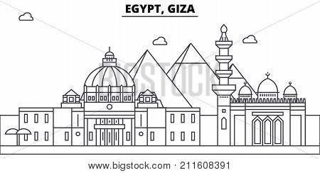 Egypt, Giza architecture skyline: buildings, silhouette, outline landscape, landmarks. Editable strokes. Flat design line banner, vector illustration concept.