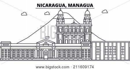 Nicaragua, Managua architecture skyline: buildings, silhouette, outline landscape, landmarks. Editable strokes. Flat design line banner, vector illustration concept.