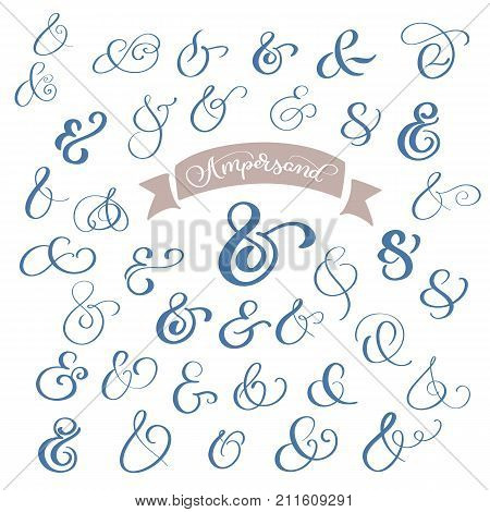 Set collection Calligraphy lettering vintage decoration ampersands for letters and invitation. Hand drawn type. Vector illustration.