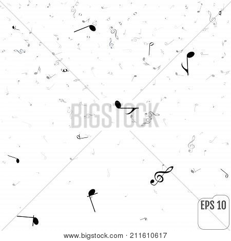 Music Notes And Shadow. Abstract Musical Background. Vector Illu