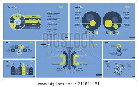 Infographic design set can be used for workflow layout, diagram, report, presentation, web design. Business and workflow concept with process, pie, flow, bar, arrow, comparison, percentage charts.