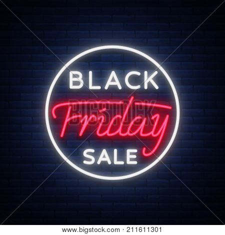 Black Friday sale neon sign, neon banner, background brochure. Glowing neon sign, bright glowing advertising, sales discounts Black Friday. Vector illustration.