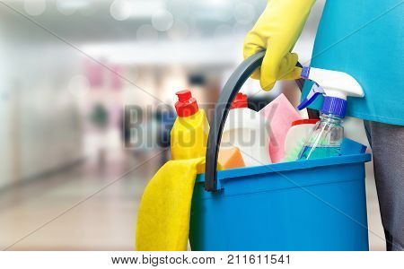 Cleaning Lady With A Bucket And Cleaning Products .