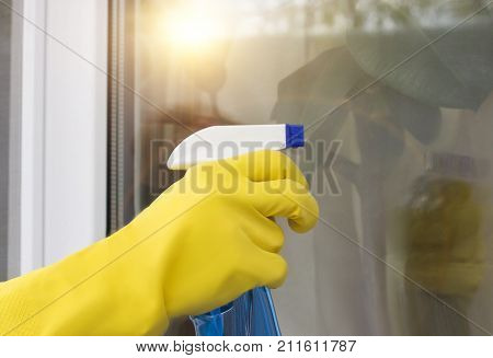 Cleaning Lady Cleaning A Window .