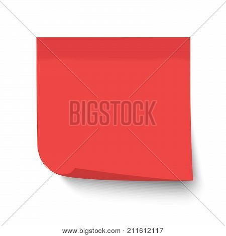 Red post note. Sticky memo label with curled corner isolated on transparent background. Realistic template mockup with shadow for your projects. Vector stock illustration.