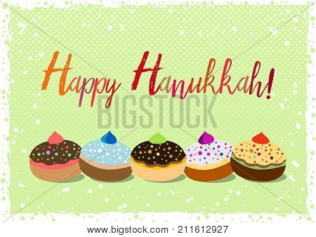 Postcard for greetings with Festival of Lights Feast of Dedication Hanukkah. Grunge hand written greeting with jewish sufganiots on green halftone background with snow. Vector illustration