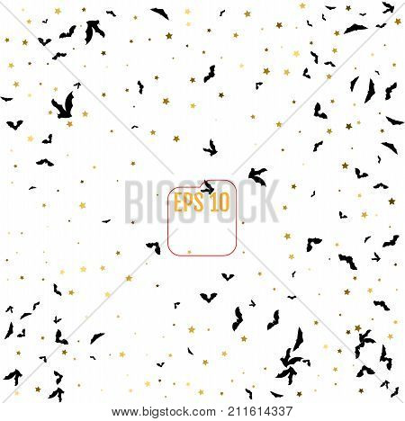 Gold Stars And Swarm Of Bats On The White Background. Halloween