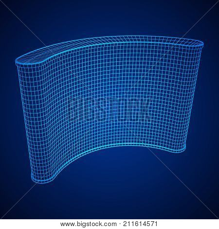 Trade show booth. Wireframe mesh vector. Template for your design.
