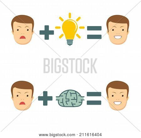 Ideas and solutions makes you smile . Business concept no ideas lamps. Stock vector illustration for poster, greeting card, website, ad, business presentation, advertisement design.