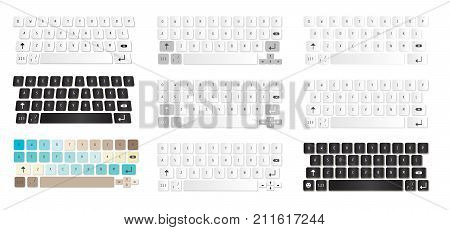 Set Of Compact Virtual Keyboards Vector Illustration