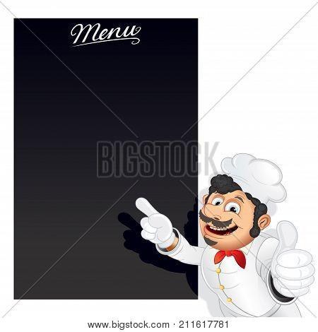 Funny Cartoon Chef with Blank Chalkboard Menu Vector