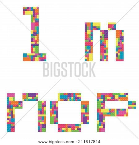 L m n o p alphabet lowercase letters from children building block icon set vector graphic