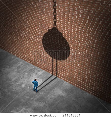 Believe in success as a businessman looking at a brick wall obstacle casting a shadow of a wrecking ball as a success metaphor to demolish negative barriers with 3D elements.