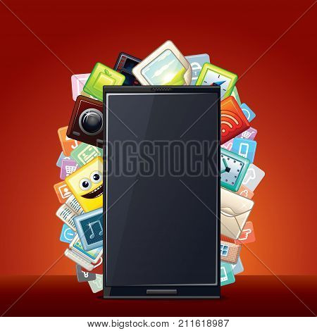 Smart Phone with Apps Icons. Technology Smartphone Background