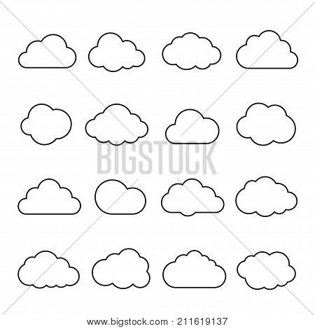 Clouds line art icon. Storage solution element, databases, networking, software image, cloud and meteorology concept. Vector line art illustration isolated on white background