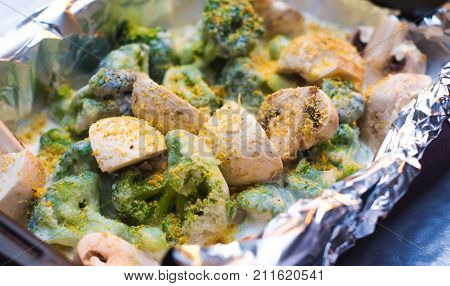 Broccoli, mushrooms in the sauce. cooking vegetarian dishes