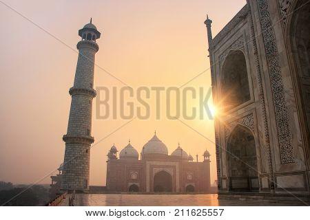 View Of Jawab From Taj Mahal Base At Sunrise, Agra, Uttar Pradesh, India