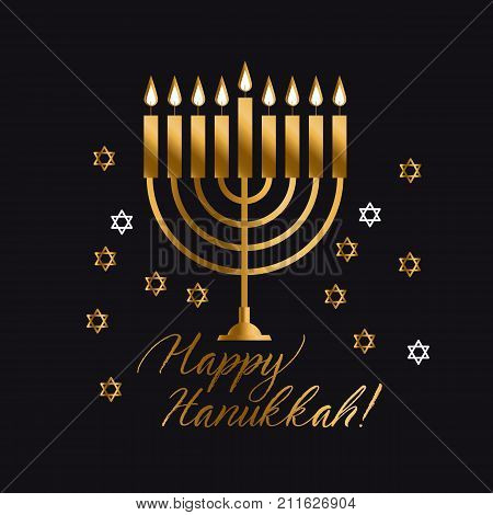 Jewish holiday Hanukkah with gold menorah (traditional Candelabra) vector illustration on black background