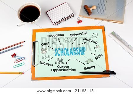 scholarship Concept, keywords and icons. Office desk with stationery.