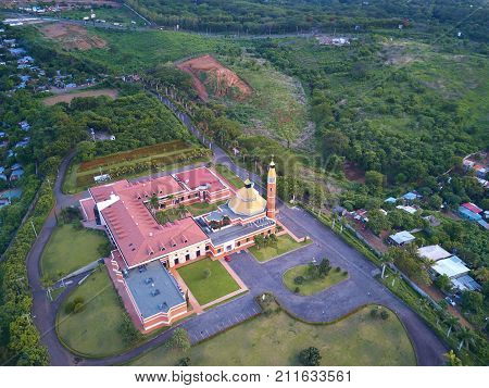 District in Managua city aerial drone view. Scenery view in Managua