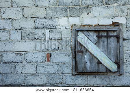 Old Barn Door Closed With Wooden Rust Door