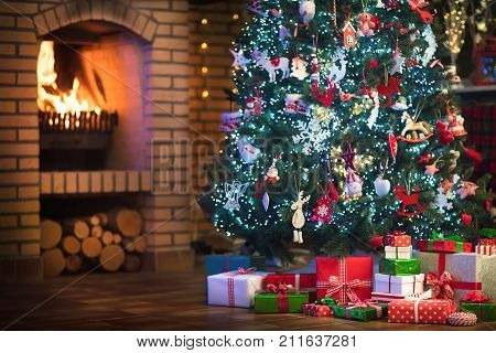 Christmas Home Interior With Tree And Fireplace