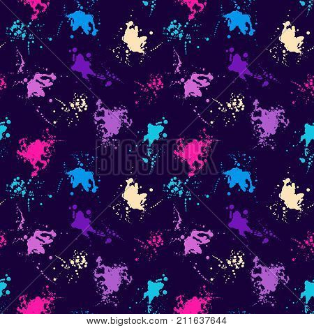 Grunge splatter pattern. Paint stains background. Ink splashes. Fabric design. Grunge spray drops. Liquid stains seamless pattern. Watercolor abstract vector.