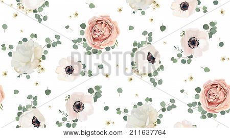 Seamless pattern Vector floral watercolor design: garden rose peony powder white pink Anemone flower silver Eucalyptus branch green thyme wax flowers greenery leaves. Rustic romantic background print