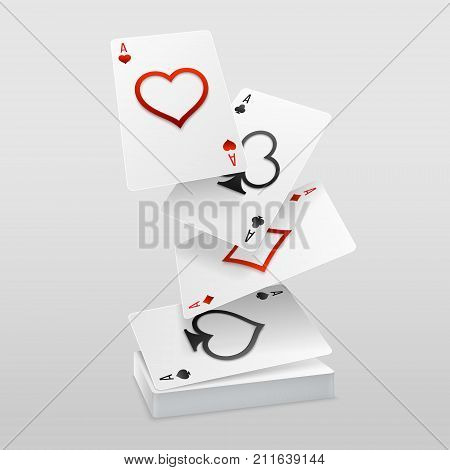 Vector set of four aces playing cards fall on the card deck. Paper art decoration of suits with cutted out symbols.