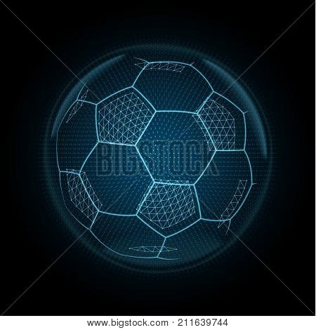Vector image of a soccer ball made of illuminated shapes. Sport illustration consisting glowing lines, points and polygons in the form of football ball. Abstract 3D neon wireframe concept.