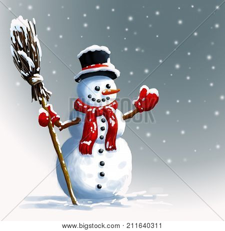 Snowman in hat with broom. Winter Christmas illustration