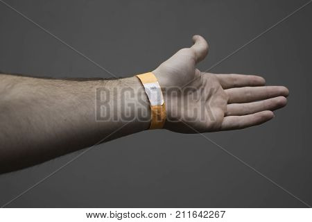 Orange wristband for an event or the hospital