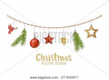 Hanging Christmas decorations composition with fir tree branches wooden stars and xmas baubles. Vector illustration