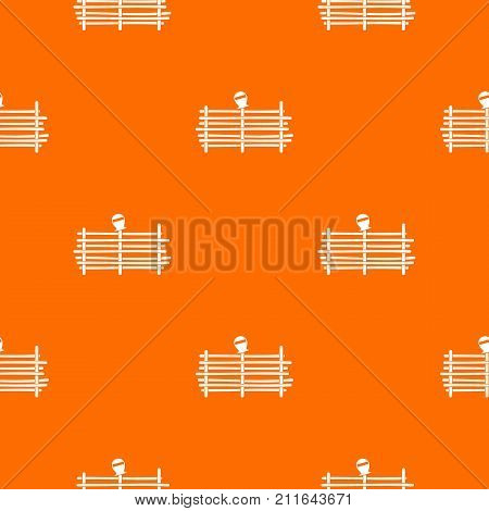 Palisade pattern repeat seamless in orange color for any design. Vector geometric illustration