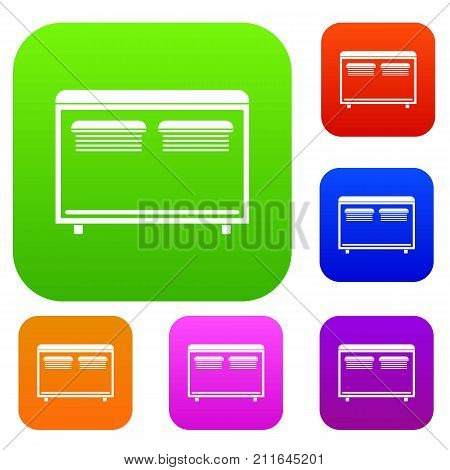 Home equipment for heating set icon color in flat style isolated on white. Collection sings vector illustration