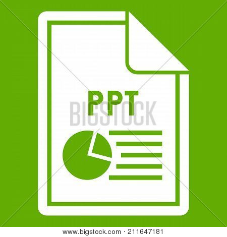 File PPT icon white isolated on green background. Vector illustration