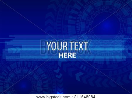 Hi-tech digital high computer technology. Vector abstract illustration gear wheel engineering telecoms futuristic background. Circuit blue board information. Speed hardware arrow line.