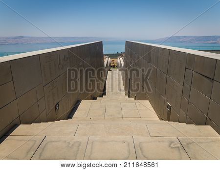 View of the Sea of Galilee from Domus Galilaeae on the Mount of Beatitudes in Galilee Israel