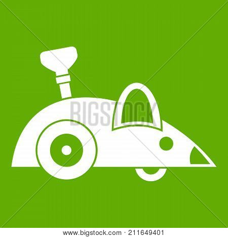 Clockwork mouse icon white isolated on green background. Vector illustration