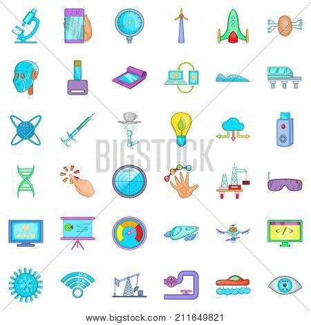 Hi tech icons set. Cartoon style of 36 hi tech vector icons for web isolated on white background