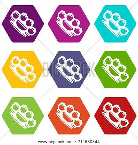 Brass knuckles icon set many color hexahedron isolated on white vector illustration