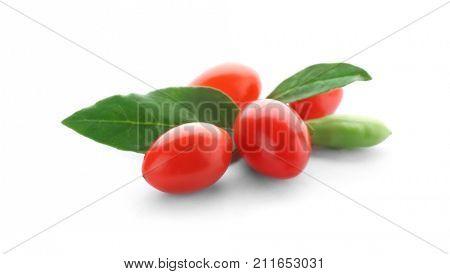 Goji berries on white background