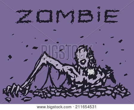Zombie demon climbs out of hell. Vector illustration. The image of horror. Drawing nightmare character.