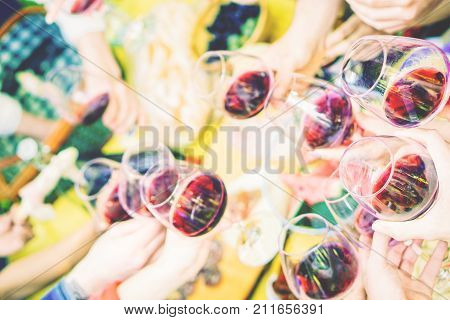 Group of people having fun toasting and cheering up with red wine glasses at picnic barbecue in the park outdoor - Happy friends enjoying the pic-nic drinking red wine together - Focus on first glass