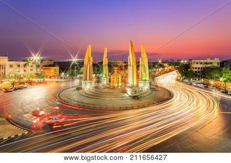 Moment of Democracy monument at Dusk (Bangkok Thailand)