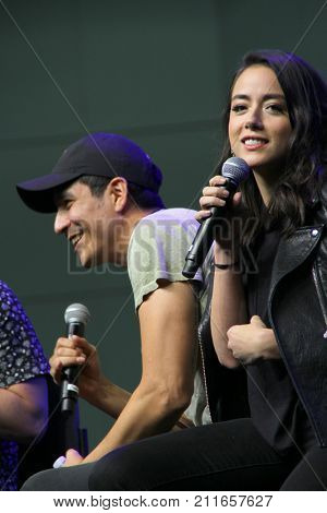 Gabriel Luna and Chloe Bennet attend the annual Stan Lee's Los Angeles Comic Con 2017 Expo at the Los Angeles Convention Center on Oct. 28, 2017.
